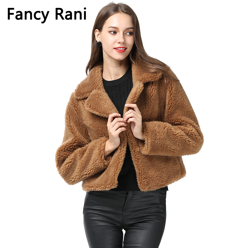 New Fashion Soft Teddy Coat Women Real Fur Coats Short Style Jacket Winter Wool Overcoats Thick Warm Fur Outerwear Plus Size 4XL