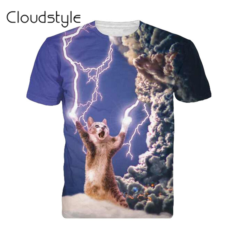 2017 New arrivals brand clothing 3D Printed Thundercat T Shirt fearless kitty cat playing with lightning