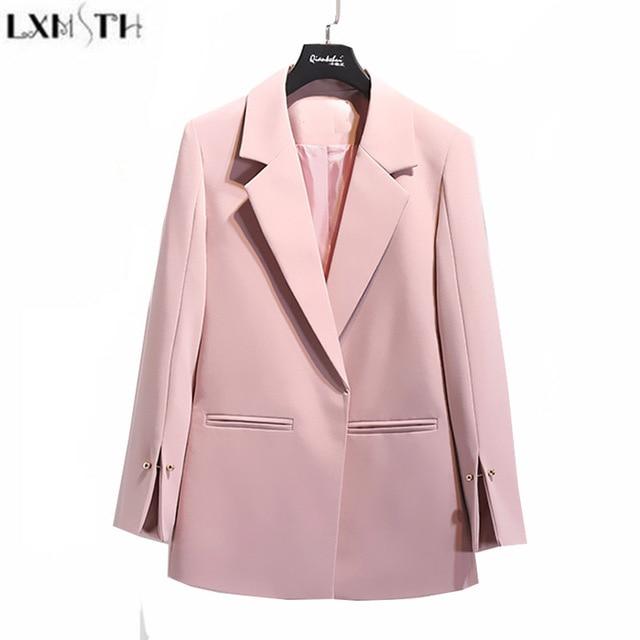 3e9c4b5d92d LXMSTH 2019 Spring Autumn Suit jacket Women White Black Pink Korean Elegant  Solid Loose Casual Blazer jacket Womens Formal Coat