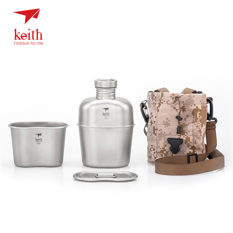 Keith 1100ml Military Kettle Outdoor Water Container Titanium Kettle with 700ml Lunch Box for Camping Hiking Fishing Travelling