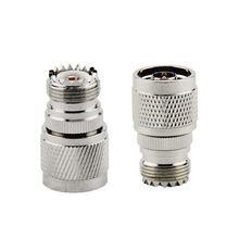 2PCS RF Coaxial Coax Adapter N Male to UHF Female SO-239 SO239 Connector