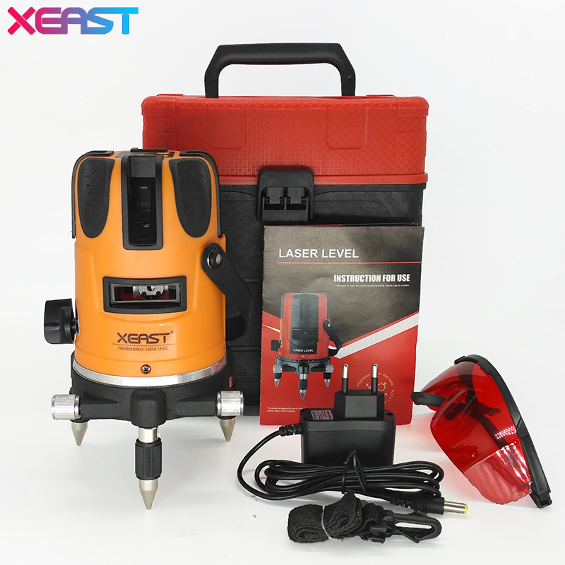 XEAST New 5 lines 6 points laser level Outdoor model Tilt Function 360 Rotary Self Lleveling cross laser beam line leveling high quality southern laser cast line instrument marking device 4lines ml313 the laser level