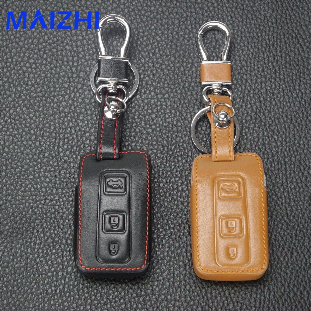 maizhi 3 Buttons Leather Key Cover Case For Toyota Camry Solara Avalon RAV4 Prius Celica Remote Folding Car-styling Key No Logo