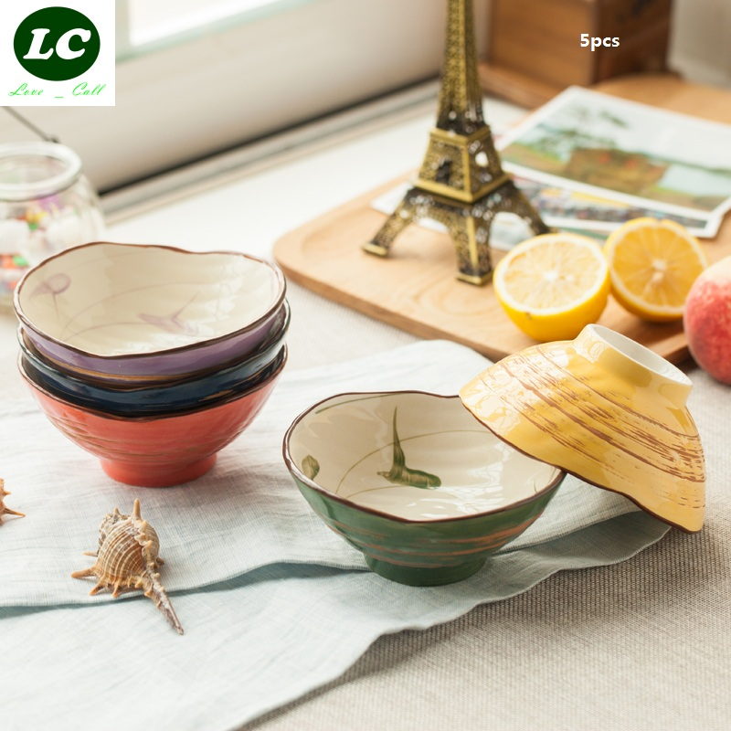 Bone China Bowls Ceram Rice Bowls Dinnerware Set 5pcs/box Fashion Style Family Use Rice holder