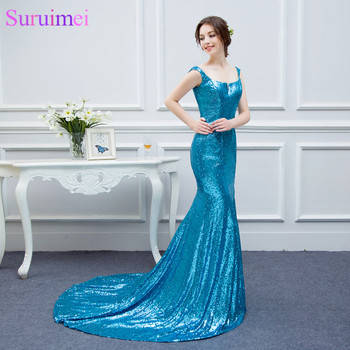 2017 New Arrival Spaghetti Straps Long Prom Dresses Floor Length Sequines Prom Gown Mermaid Formal Women Gown Free Shipping