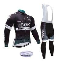 Bán buôn 2017 Men Winter Nhiệt Fleece Pro Đội Xe Đạp Jersey Long đặt MTB 9D GEL Pad Bib Dài Quần Xe Đạp Xe Đạp Quần Áo