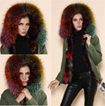 Colorful short style Warm winter outerwear real fox fur inside big fur collar coat jacket mr mrs fur parka