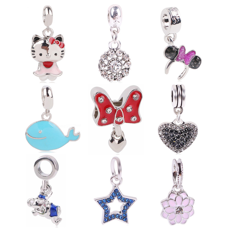AIFEILI New European Silver Color Bead Charm Elephant Minnie Star KT Cartoon Mouse DIY Pendant For Women Pandora Bracelets