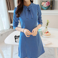 Summer Dresses Women Fashion Bow Stand Neck Tunic Slim Casual Dress Sexy Dot Print Color Long Sleeve Ruffles Female Vestidos