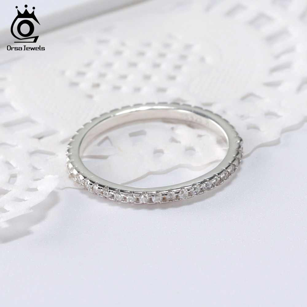 ORSA JUWELEN 925 Sterling Silber Ringe Frauen Klassische Runde Voll Pflastern AAA Cubic Zirkon Engagement Hochzeit Band Ring für Mädchen SR63