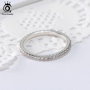 Image 2 - ORSA mücevher 925 gümüş parmak yüzük kadınlar için istiflenebilir maç düğün Band bildirimi gümüş 925 takı kızlar için SR60