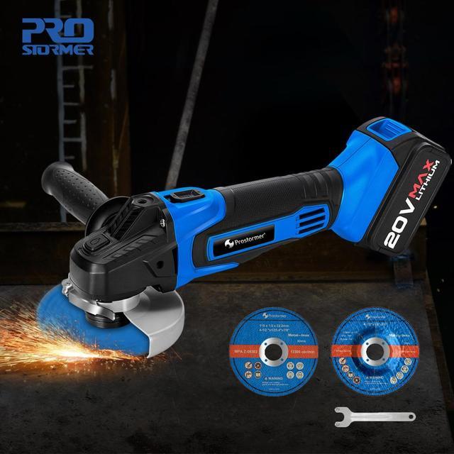PROSTORMER Angle Grinder 20V Cordless Lithium-Ion 4000mAh Grinding machine Electric grinder Angle Grinder grinding Power Tools