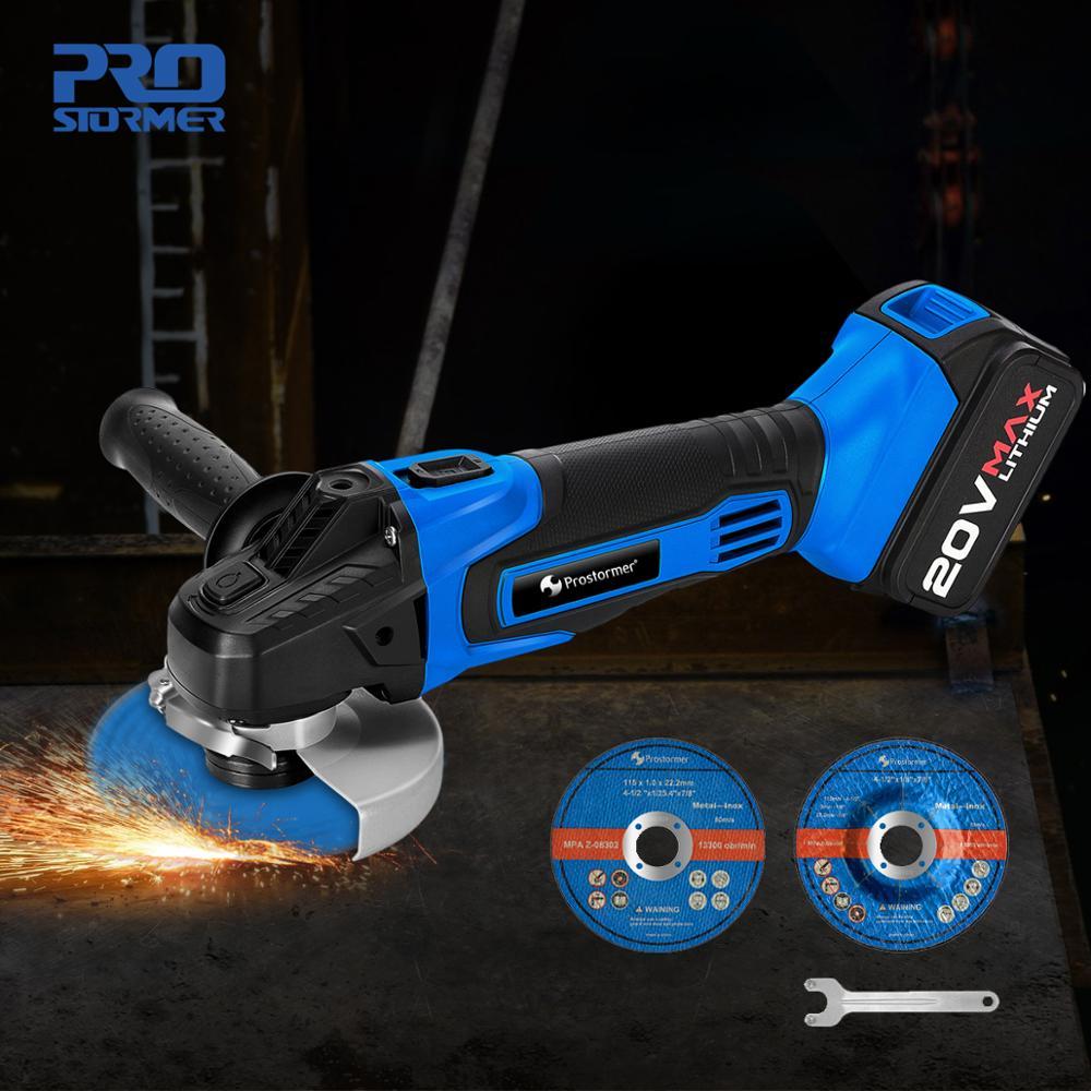 PROSTORMER Angle Grinder 20V Cordless Lithium Ion 4000mAh Grinding machine Electric grinder Angle Grinder grinding Power Tools