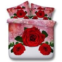 Gratis verzending via UPS twin/full/queen/king/super kingsize 3d rood/roze rose lelie bloemen 5 stks beddengoed set met dekbed