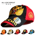 2016 ruso águila de dos cabezas enarboló el casquillo gorra de béisbol de algodón negro de los hombres de moda gorras snapback sombreros