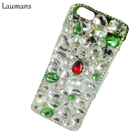 Laumans Red Blue Green Pink Rhinestone diamond case For iphone 7 PLUS Crystal glitter mobile phone back Cover For 5S 6 6S 8 PLUS