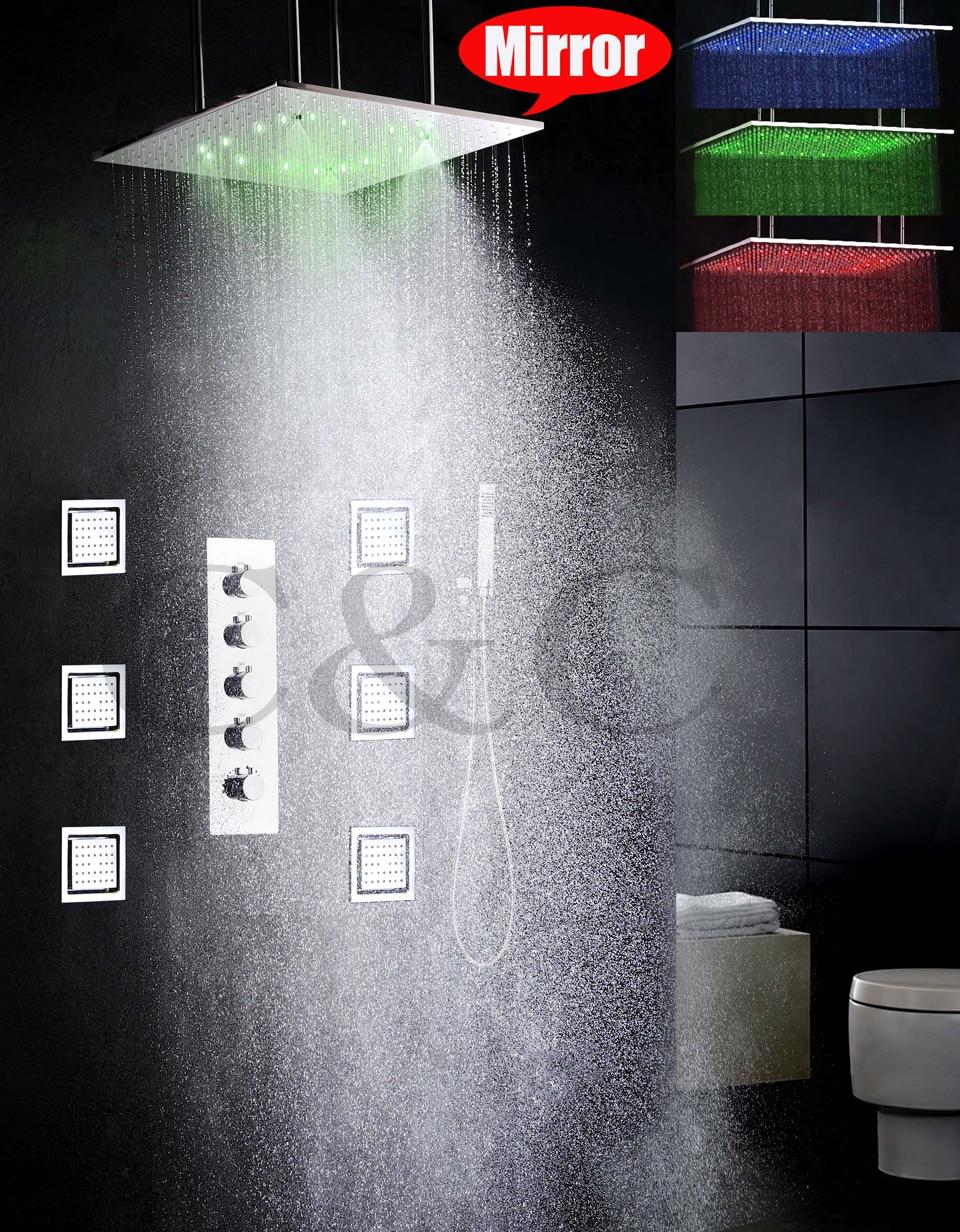 20 polegada de atomização e precipitação banheiro levou torneira do chuveiro Set 4 água funções de trabalho juntos ou separadamente