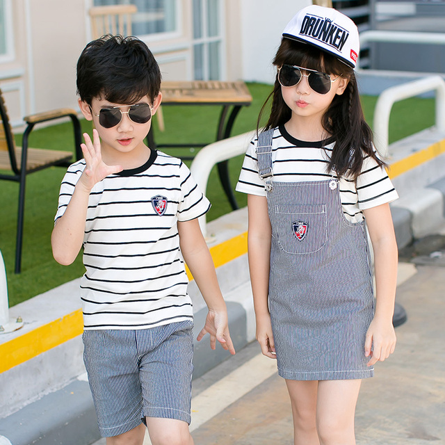 Family Matching Outfits Striped  2017 Fashion 2pcs Sets of Denim Overalls and Jeans Dress 3