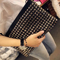 Fashion rivet vintage clutch bag rivets PU leather women's handbag day clutch bag envelope bag shoulder bag