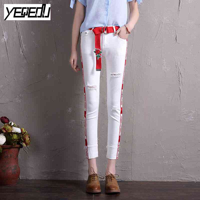 1716 2017 With hole jeans feminino With sashes White jeans women Skinny Stretch Distressed Side