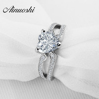 Heart Shape White Gold Plated Jewelry Ring 925 Sterling Silver Wedding Band Engagement Ring Love Female