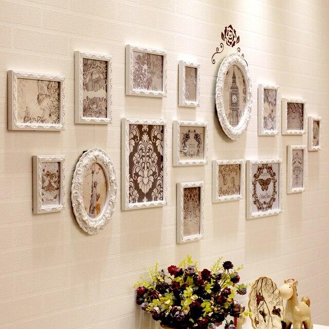 Witte Houten Fotolijst.Hout Vierkante Fotolijst Muur 16 Stks Set Moderne Witte Houten