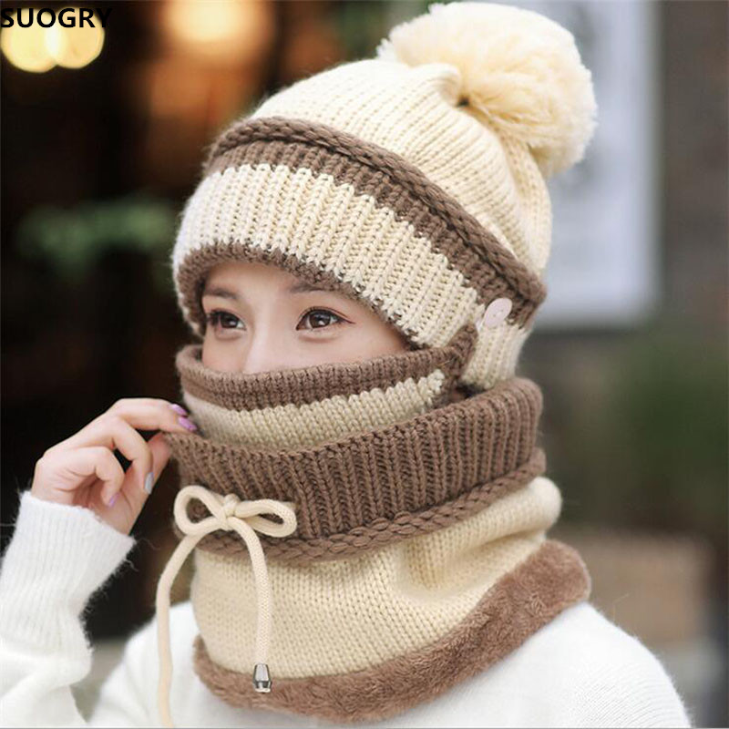 SUOGRY Winter Beanie Hat Scarf and Mask Set 3 Pieces Thick Warm Knit Cap For Women