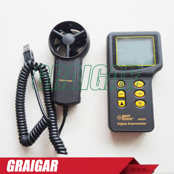 Free Shipping Smart Sensor AR826+ Anemometer digital Wind Speed meter free shipping gm8901 45m s 88mph lcd digital hand held wind speed gauge meter measure anemometer thermometer