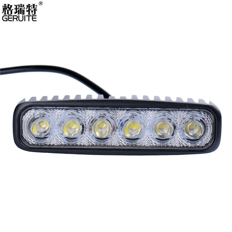 2017 Nya 1800LM 6000-6500K Cool White Mini 18W 6 LED bilbelysning Bar terrängbil Arbetsbelysningslampa för bilindikator Motorcykel