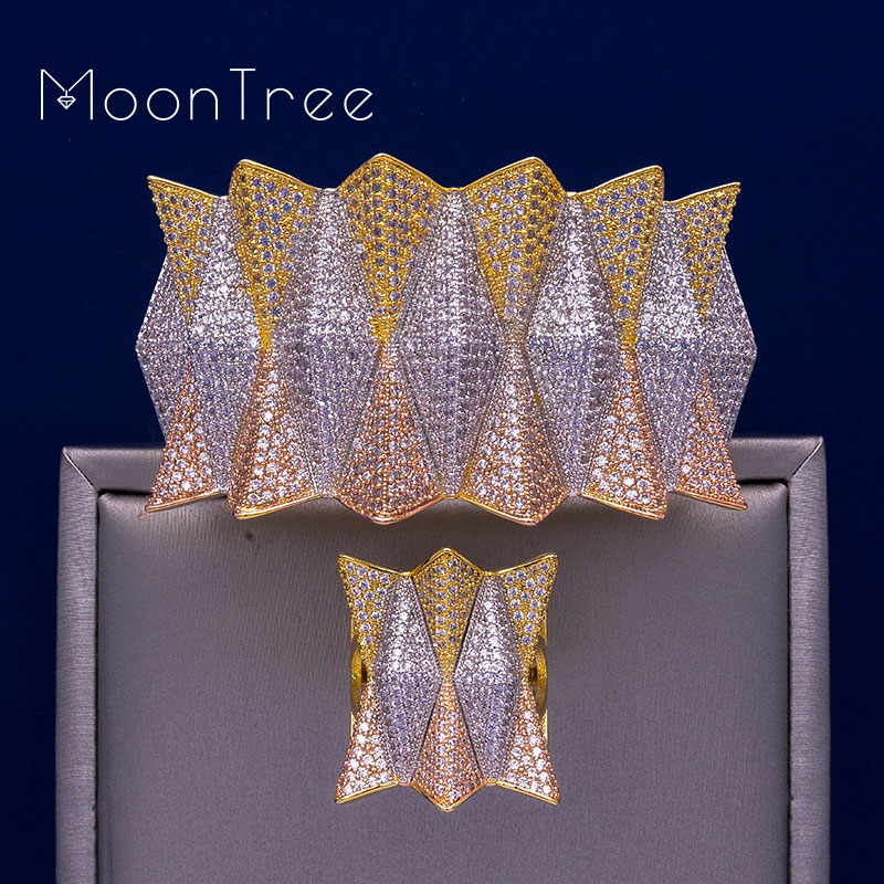MoonTree Luxury Hedgehog Three Tones Big Size Cuff Bracelet Bangle Finger Rings Full Cubic Zircon Copper Hand Jewelry