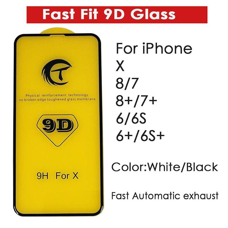100PCS Fast Fit 9D Gehard Glas film Screen Protector voor iPhone XR XS MAX X 7 8 PLUS 6 6Ps 6 Plus Volledige Cover Voor Film-in Telefoonscherm Bescherming van Mobiele telefoons & telecommunicatie op AliExpress - 11.11_Dubbel 11Vrijgezellendag 1