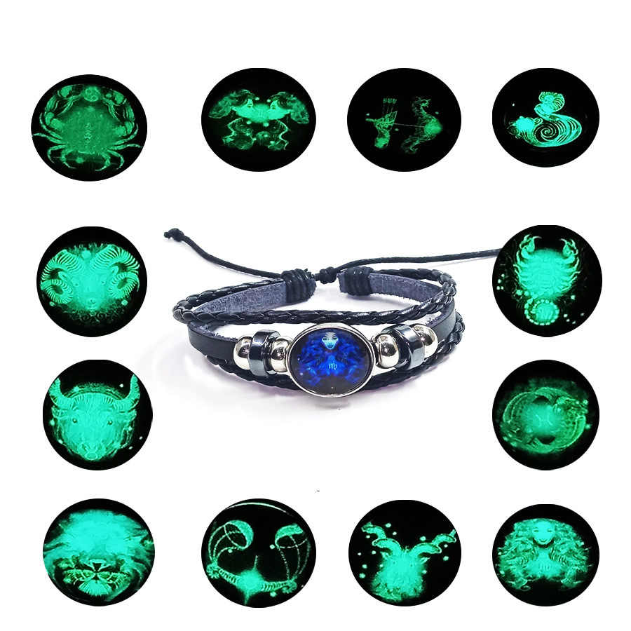 12 Constellation Luminous Bracelet men Leather Bracelet Charms Bracelets Aries Pisces Aquarius Leo Scorpio Libra Gemini jewelry