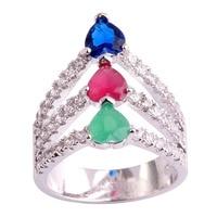 lingmei Wholesale Heart Cut Emerald Ruby Sapphire White Topaz 925 Silver Ring Size 6 7 8 9 10 11 Fashion Women Wedding Jewelry