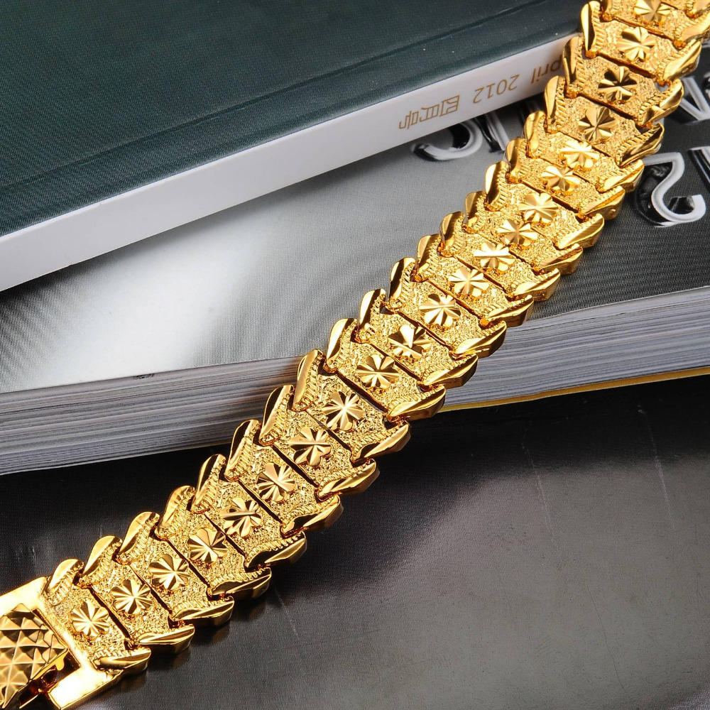 Aliexpress : Buy Wide Bracelet Chain Gold Color Men's Wedding Jewelry  Gold Color Bracelet Chain For Men Fashion Gifts Wholesale Ks398 From  Reliable