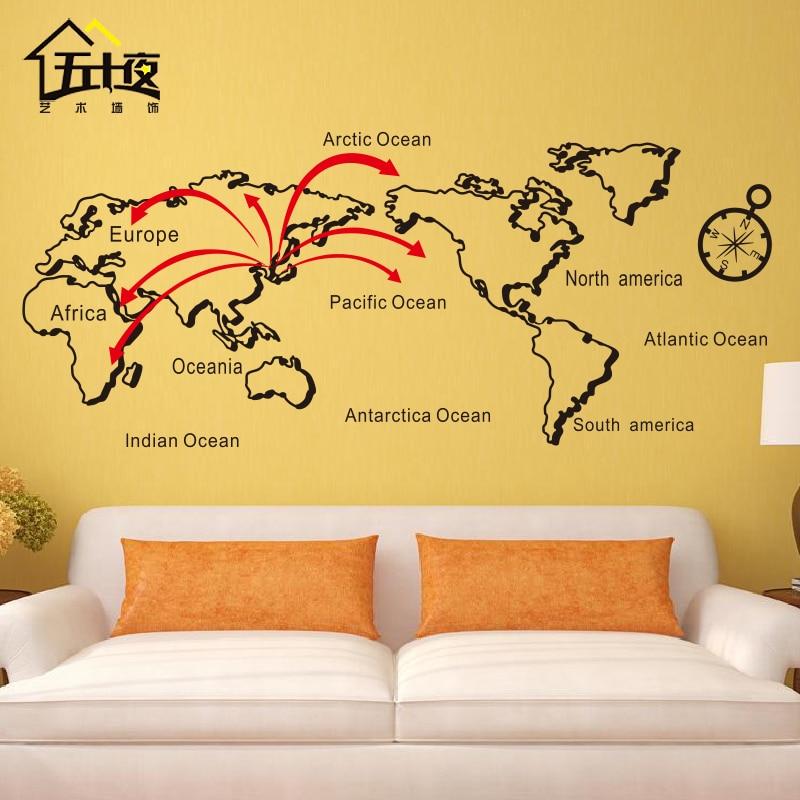 Carte du monde vinyle stickers muraux lignes personnalisé carte du monde Art Sticker mural bureau chambre carte Sticker mural décoration de la maison