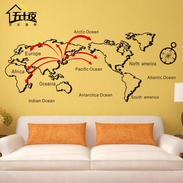 Map of world vinyl wall decal lines personalized world map art wall map of world vinyl wall decal lines personalized world map art wall sticker office bedroom map gumiabroncs Images