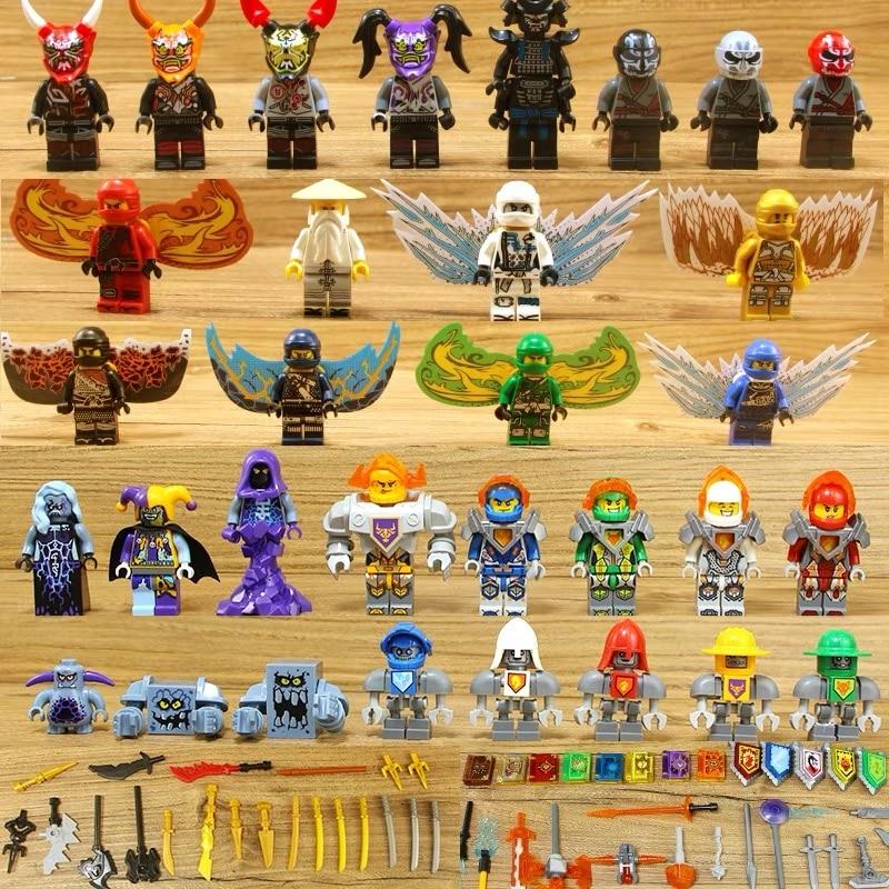 32pcs Ninjago+Nexo Knights Figures Snake Army Sensei Wu Lantern Lead Crab Jerry Hamer Building Blocks Compatible With Legoing