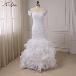 Adln пользовательские Свадебные платья Русалочки жемчуг Аппликация с плеча трепал органзы Свадебные платья со складками Vestido De Novia