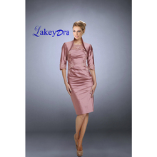 Lakeydra Satin Mother of the Bride Dresses Boat Neck with Jacket  Appliqued Knee-Length Plus Size Party Gowns Robe de Soiree