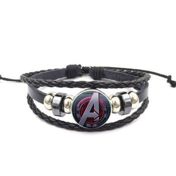 EJ Glaze Superman para mujeres niños cristal cabujón negro pulsera de cuero pulsera joya clásica hecha a mano