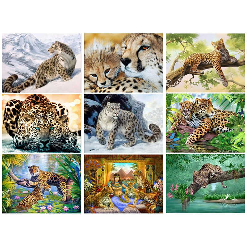 DIY 5D Diamond Painting Leopard Diamond Embroidery Cheetah Beast A Picture Of Rhinestones Mosaic Drawings Jungle JK