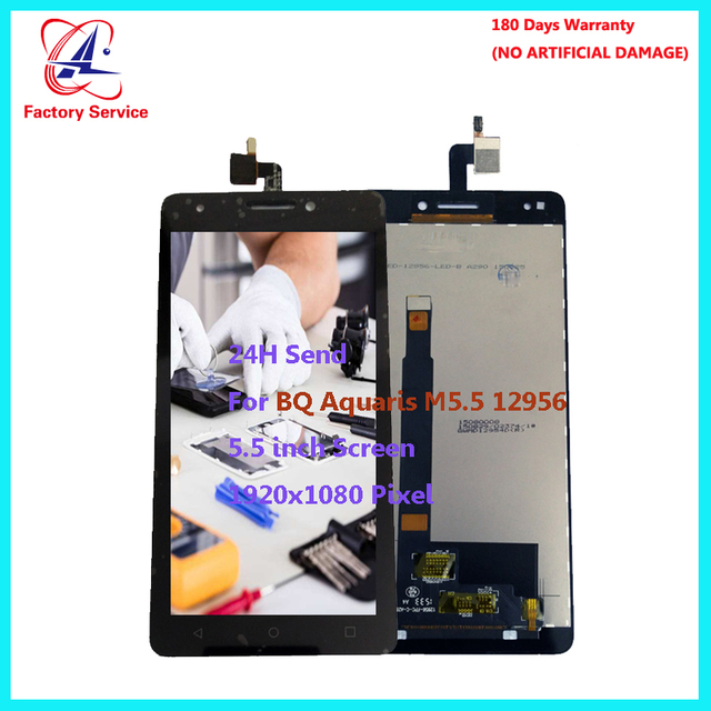 ل الأصلي M5.5 bq aquaris 12956 شاشات lcd محول الأرقام الجمعية استبدال أجزاء الهاتف المحمول 5.5 بوصة 1920x1080 وعاء الأسهم
