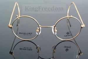 Image 3 - 42 мм маленький размер, винтажное круглое антикварное украшение с проволокой, оправа для очков, металлическая оправа, золотистого цвета, полная оправа, очки для близорукости
