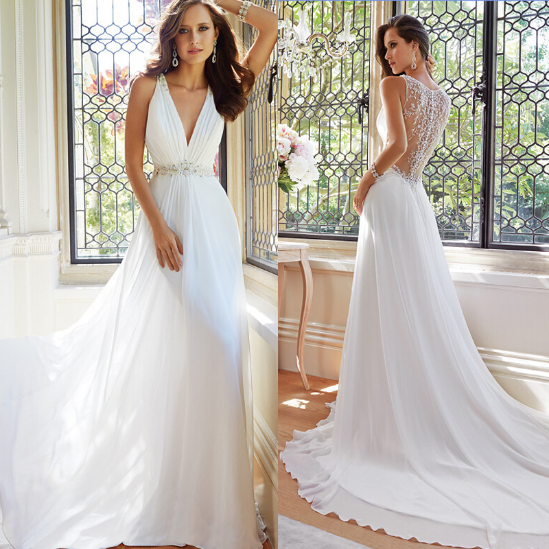New Arrival Simple Elegant White Summer Beach Wedding Dresses V Neck ...
