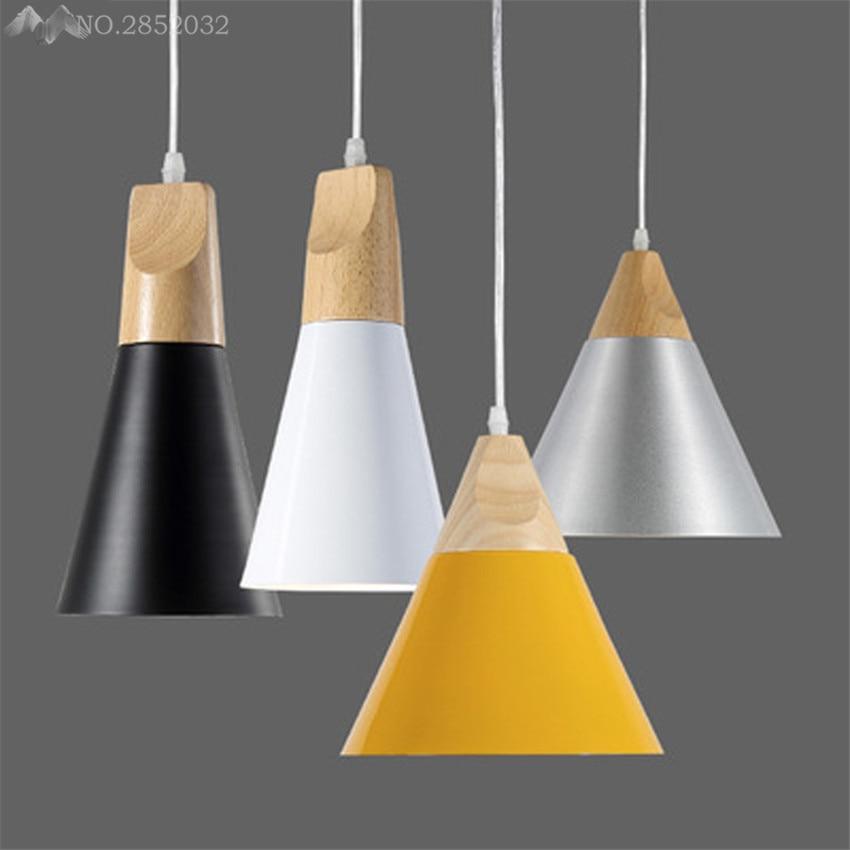 Slope Lamps Pendant Lights Wood+Aluminum  Wooden+Aluminum Colorful Restaurant Bar Coffee Dining Room LED Hanging Light Fixture