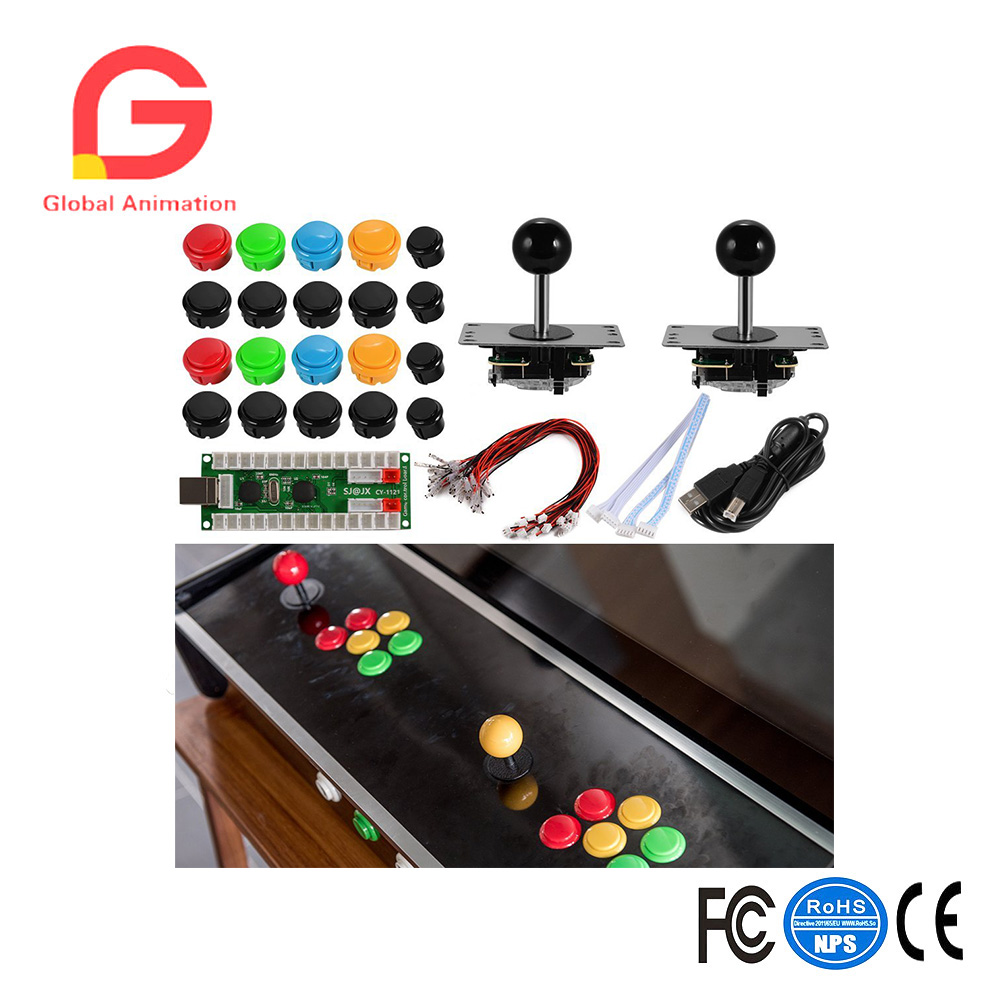 Two Players Zero Delay Arcade Game DIY Kits USB Encoder Board + 2 Joystick Controller + Push Buttons for MAME PC AC824 ботинки michael michael kors 40f7tdfb6l 001 black