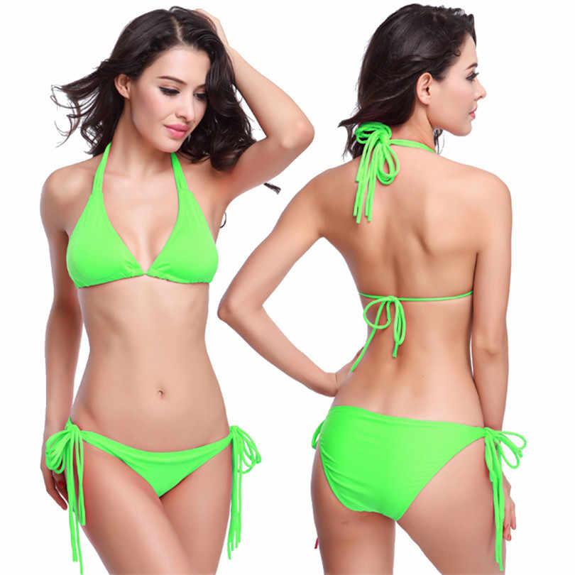 86a3c382816 ... cheap swimsuits Hot Sale Long Halters Swimwear Bikini Fully Lined 2018  Sexy Women Beautiful Girls String ...