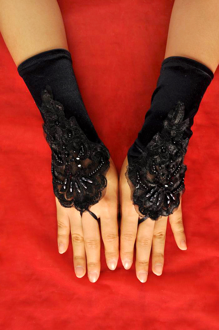 Women Fingerless Bridal Gloves Elegant Short Paragraph Rhinestone White Lace Glove Wedding Accessories Red Lace Gloves