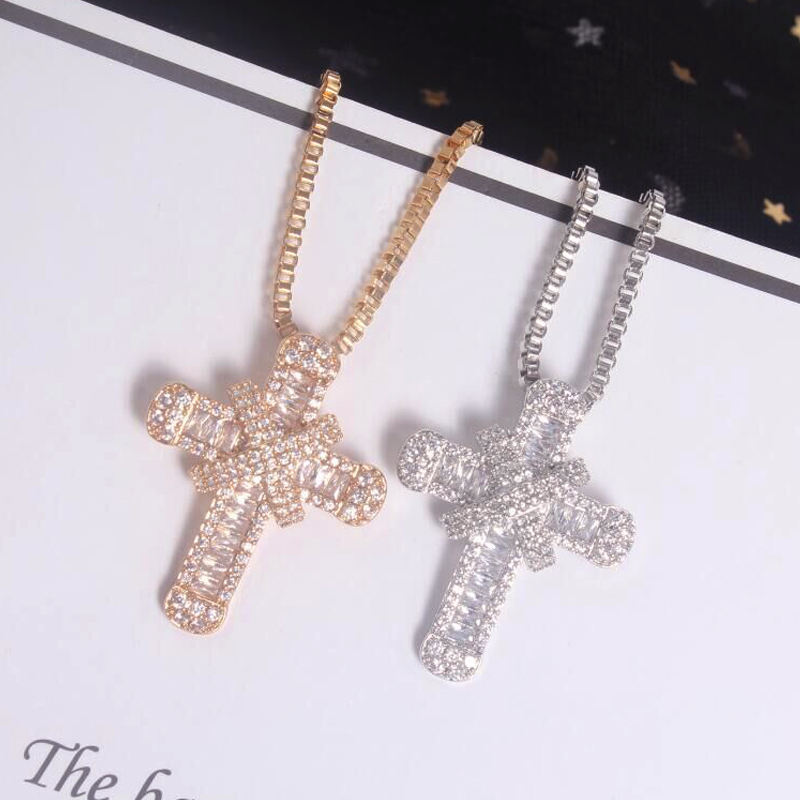 New Classic Gold Silver Color Cross Pendant Necklace For Women Fashion Cubic Zirconia Christian Cross Necklace Jewelry Gift 2020