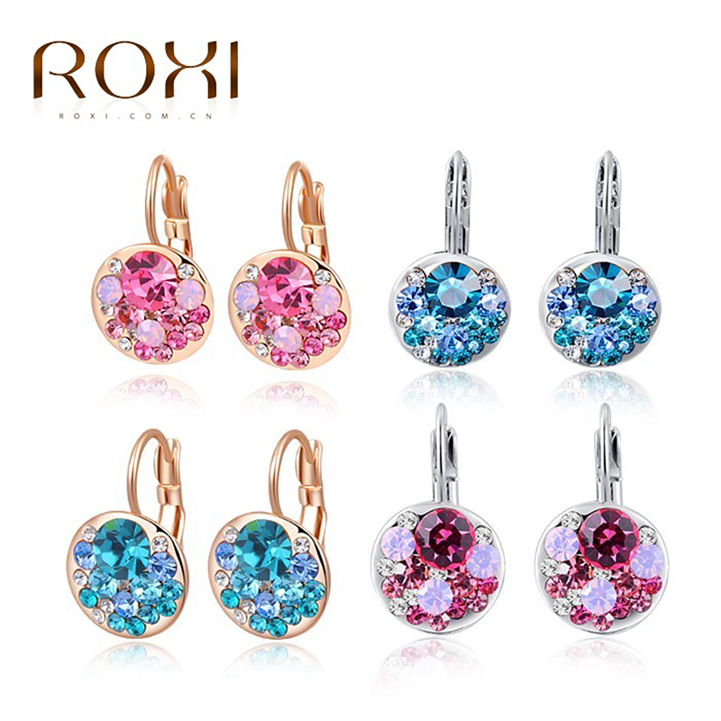 ROXI Stud Earrings for Women Statement Rose Gold Blue Crystal Zircon Wedding brincos earings fashion jewelry bijoux femme Z35